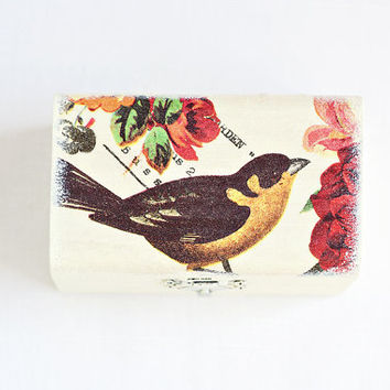 "Ivory wedding ring bearer box ""Bird"" - OOAK, wedding box, vintage style, rustic, jewelry box, handmade"