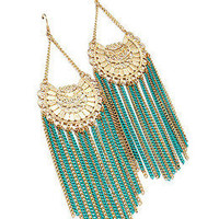 Summertime Teal and Gold Chandelier Earrings