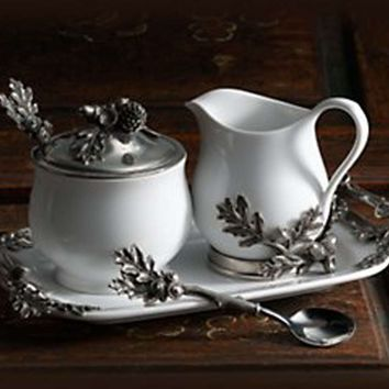 Stoneware Creamer Set - Pewter Acorn & Oak Leaf
