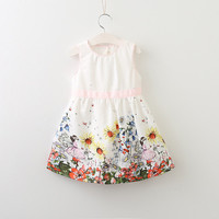 Little Girls Florals Pattern Printing Desing for Baby Girls Dress Fashion
