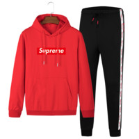 Supreme Autumn and winter new fashion letter print string mark print men long sleeve sweater and pants two piece suit Red