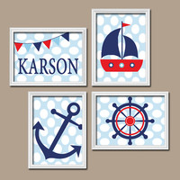 Nautical Ocean Boy Wall Art Navy Blue Red Sailboat Sea Anchor Nursery Canvas Artwork Custom Child Name Monogram Set of 4 Prints Baby