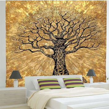 Tree Indian Mandala Tapestry Wall Hanging 220X140cm Polyester Bedspread Throw Blanket Picnic Cloth Home Decoration Dorm Cover