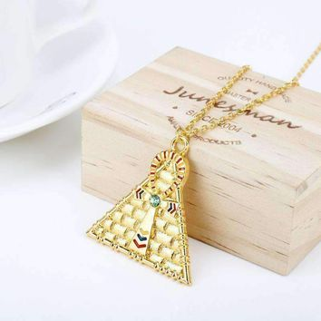 Egyptian Pyramid Necklaces for Women Gold Eye Of Horus