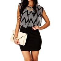 BlackIvory Sleeveless Colorblock 2fer Dress