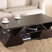 Geometric Inspired Coffee Table Multiple Open Shelves With Compartments Espresso