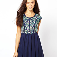 River Island Heavily Embellished Dress With Chiffon Skirt