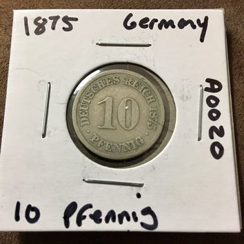 1875 German Empire 10 Pfennig Coin A0020