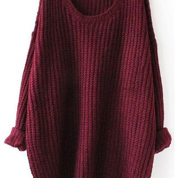 ONETOW Fall Fashion Red Batwing Oversized Long Sleeve Loose Knit Sweater Day-First