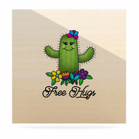 "Noonday Design ""Free Hugs Cactus"" Green Pastel Luxe Square Panel"