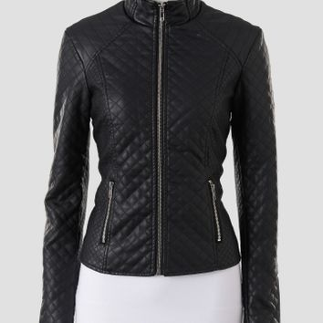 Baccini Quilted Faux Leather Jacket with Zipper Details - Women | Stein Mart