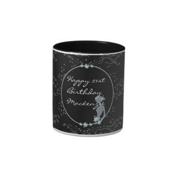 Elegant Black Diamond Personalized Gift Mug