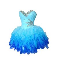 MissProm Sweetheart Short Ombre Blue Girl's Formal Prom Dresses Fashion Party Dress