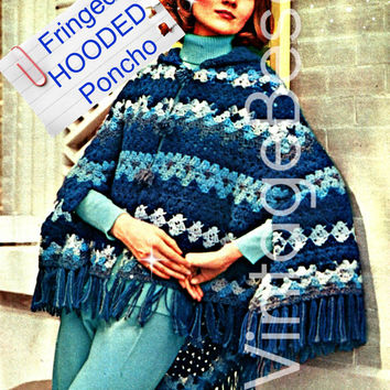 Luxurious HOODED PONCHO CROCHET Pattern Instant Download Pdf Womens 1970s Vintage Crochet Shawl Vintage Beso Crochet Pattern Easy Crochet