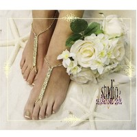 BAREFOOT SANDALS GOLD RHINESTONE | GLAMOUR crystal gold bridal foot jewelry | gold footless sandals | beach wedding sandals |