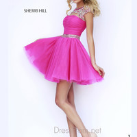 Sheer Beaded Cap Sleeves Formal Prom Gown By Sherri Hill 11191