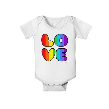 Rainbow LOVE Text Baby Romper Bodysuit by TooLoud