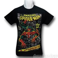 "Spiderman Distressed ""Man or Spider"" Black T-Shirt"