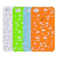 4 Case Combo Pack + Screen Protector (Neon Green, Neon Orange, Blue, White) - Birds Nest - for Apple iPhone 4, 4S (AT&T, Sprint & Verizon) [Retail Packaging by DandyCase]