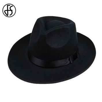 Wool Wide Brim Fedora Hat For Men In Black / Gray / Brown