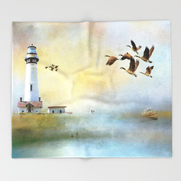 Lighthouse Bay II Throw Blanket by Theresa Campbell D'August Art