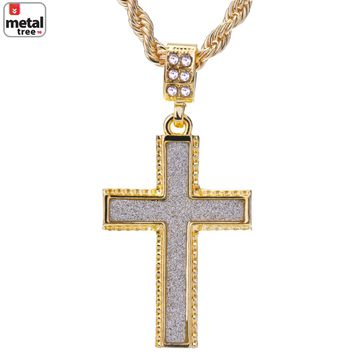 """Jewelry Kay style Men's 14k Gold Plated Iced Out Glitter Cross Pendant Rope Chain 24"""" HC 2044 G"""