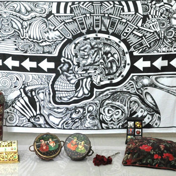 """Skull Tapestries Grateful dead psychedelic Tapestry by """" JAIPUR HANDLOOM"""" Hippie Indian boho Throw Wall Art College Dorm Bohemian Wall Hanging Twin Bedspread"""