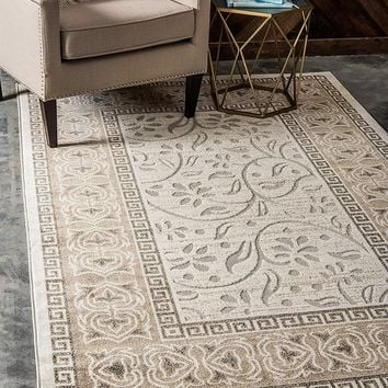 7152 Ivory Branches Outdoor-Indoor Carved Area Rugs
