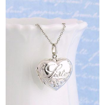 Puffed Heart Sister Locket