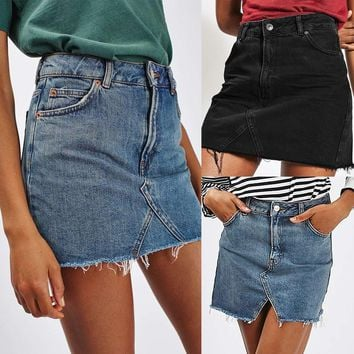 Laamei 2019 New Summer Solid Denim Skirt Women's High Waist Casual A-Line Denim Distressed Bodycon Short Jean Skirt Black Blue