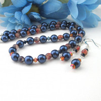 Navy Blue Pearl Necklace Earring Set With Orange Beads Crystals OOAK