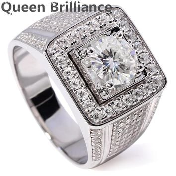 Ring. Luxury 1 Carat F Color Round cut Lab Grown Moissanite Diamond Wedding Ring With Accents 14K 585 White Gold For Men