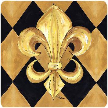 Set of 4 Black and Gold Fleur de lis New Orleans Foam Coasters
