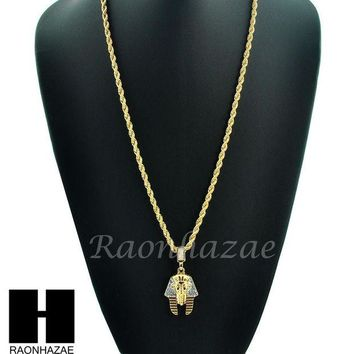 DCCKH7E ICED OUT EGYPTIAN KING TUT PHARAOH 14K GOLD PLATED 24' ROPE NECKLACE CHAIN KN024