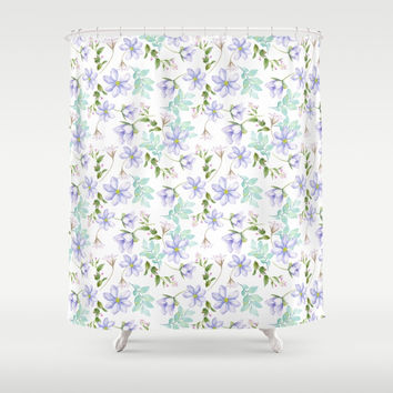purple spring flowers Shower Curtain by sylviacookphotography