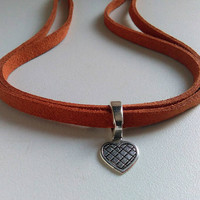 Heart Choker Necklace, Love Necklace, Heart Collar, Short Necklace, Brown Suede Cord Necklace, Silver Heart Necklace, Trendy Slide Choker