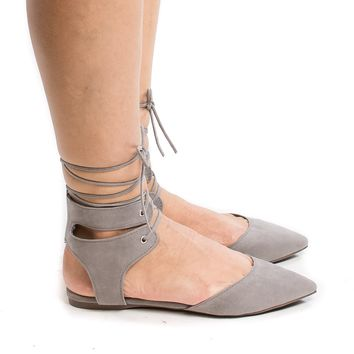 Deanna01 Grey By Breckelle's, Pointed Toe Laced Ankle Cuff Leg Wrap Ballerina Flat Sandals