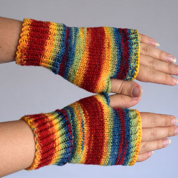 Rainbow wool wristwarmers, thin knit fingerless gloves, office gloves, thin wool mittens, snug driving gloves, bicycle gloves