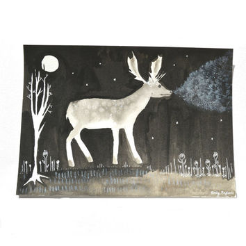 Gothic Stag at Night Original Painting, Black and White Stag Art, Monochrome Deer Wall Art, Deer Painting, Ghost Animal Art