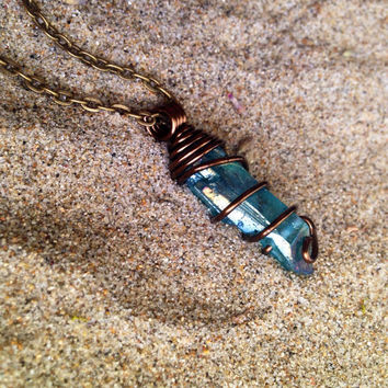 Aura Crystal Pendant Necklace Bohemian Necklace Aqua Aura Quartz Crystal Necklace Crystal Healing Crystals and Stones Wire Wrapped Crystal