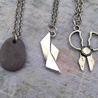 Rock Paper Scissors Best Friends Necklaces - Pinky Promise Jewelry - Best Friends Forever Jewelry - Sister Jewelry - Friends Jewelry