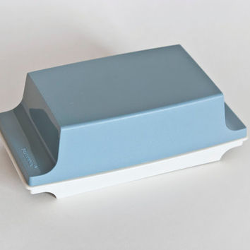 Vintage Blue and White Tupperware Butter Dish, Butter Storage Container