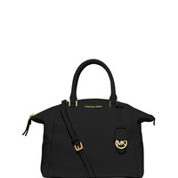 Riley Large Pebbled Satchel Bag, Black - MICHAEL Michael Kors