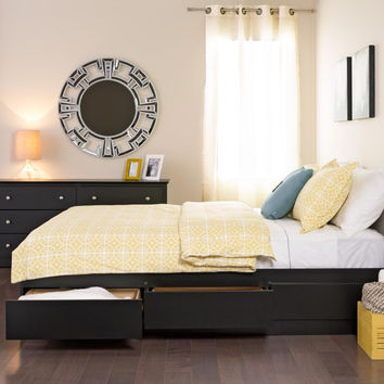 Black Queen Mate Platform Storage Bed with 6 Drawers