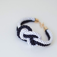 Black and White Chanel Nautical Knot Silk Rope by pardes on Etsy