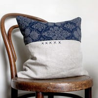 Criss Cross. Natural Decorative Pillow from Vintage Recycled Silk and Natural Linen. Hand Embroidered Detail.
