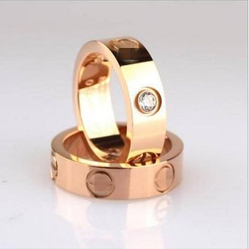 Cartier Stylish Women Men Diamond Ring Lovers Lovely Rings Rhinestone Ring I