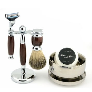 New Men Classy Wet Shaving Kit Safety Blade Razor Pure Badger Beard Brush Stand + Bowl Free Soap