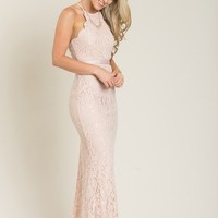 Amalia Pink Lace Maxi Dress