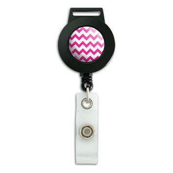 Chevrons Pink Retractable Badge Card ID Holder